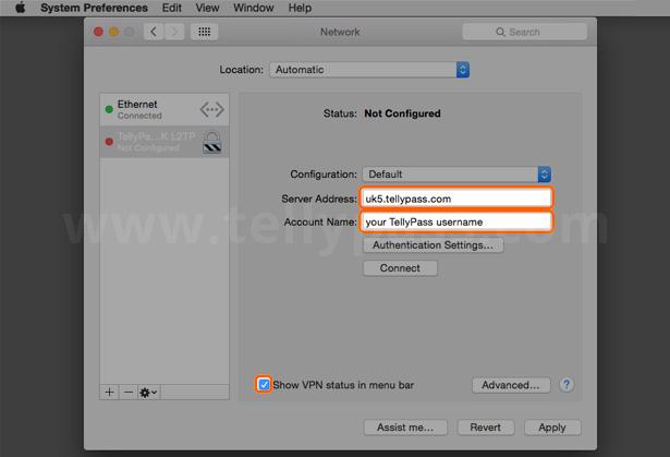 Configure mac vpn l2tp - TellyPass